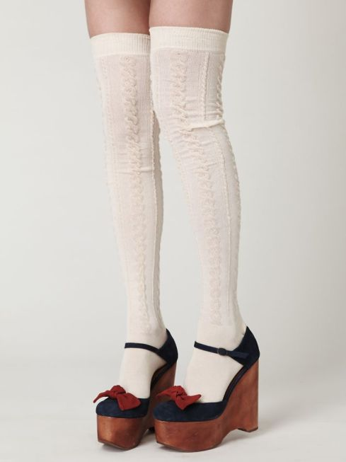Free People Sheer Cable Tall Sock